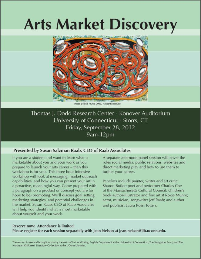 """Arts Market Discovery"" 9/28/2012 Dodd Research Center, Storrs, CT"